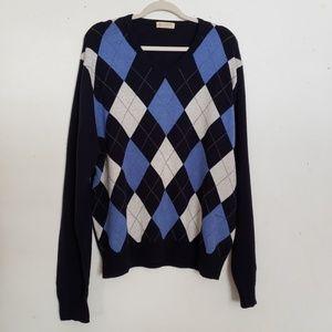 J. Crew Mens XL Argyle Blue V-neck Sweater